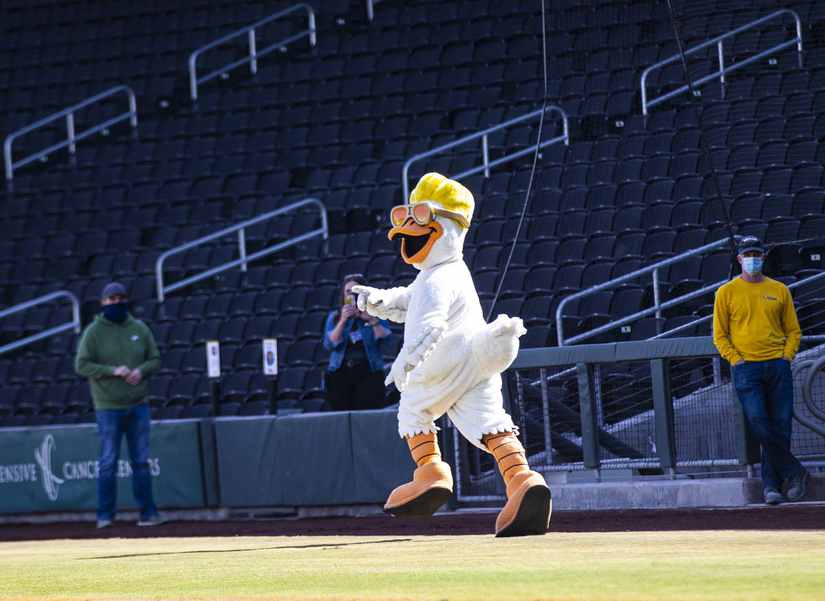 Las Vegas Aviators mascot Spruce the Goose streaks across the field as local major and minor le ...