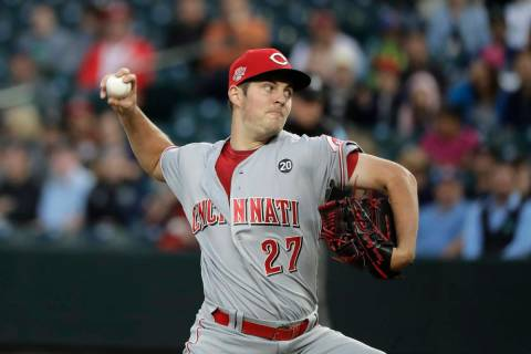 In this Sept. 10, 2019, file photo, Cincinnati Reds starting pitcher Trevor Bauer throws to a S ...