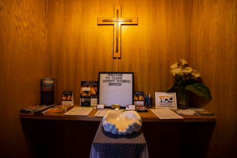 A view near the lobby at Clark County Funeral Services in Las Vegas on Jan. 22, 2021. (Chase St ...
