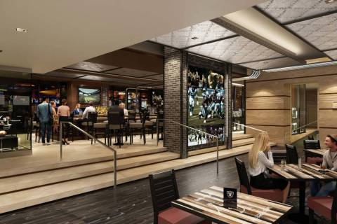 A rendering of the entrance to the Raiders Tavern & Grill at M Resort. (M Resort)