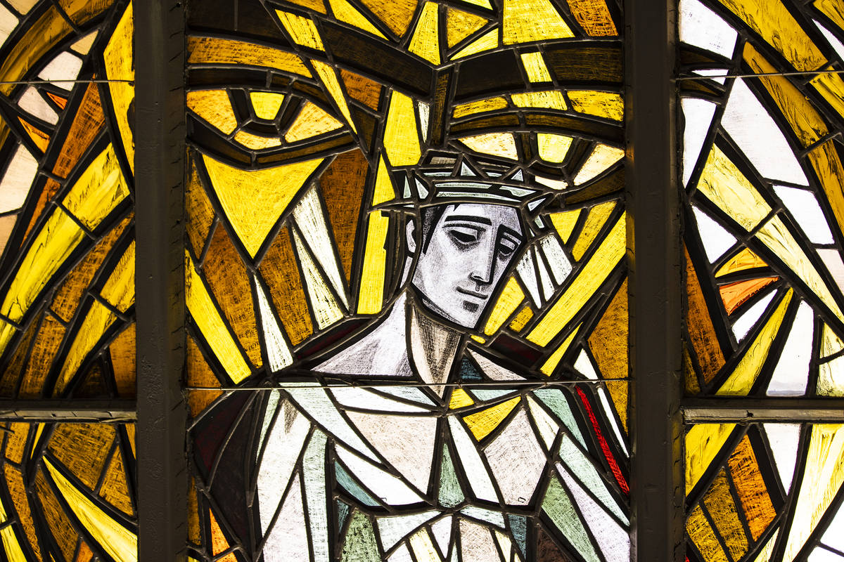 Stained glass windows at Guardian Angel Cathedral, designed by renowned African-American archit ...
