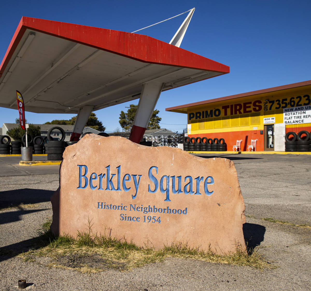 A historic marker for the Berkley Square neighborhood, which was designed by architect Paul R. ...