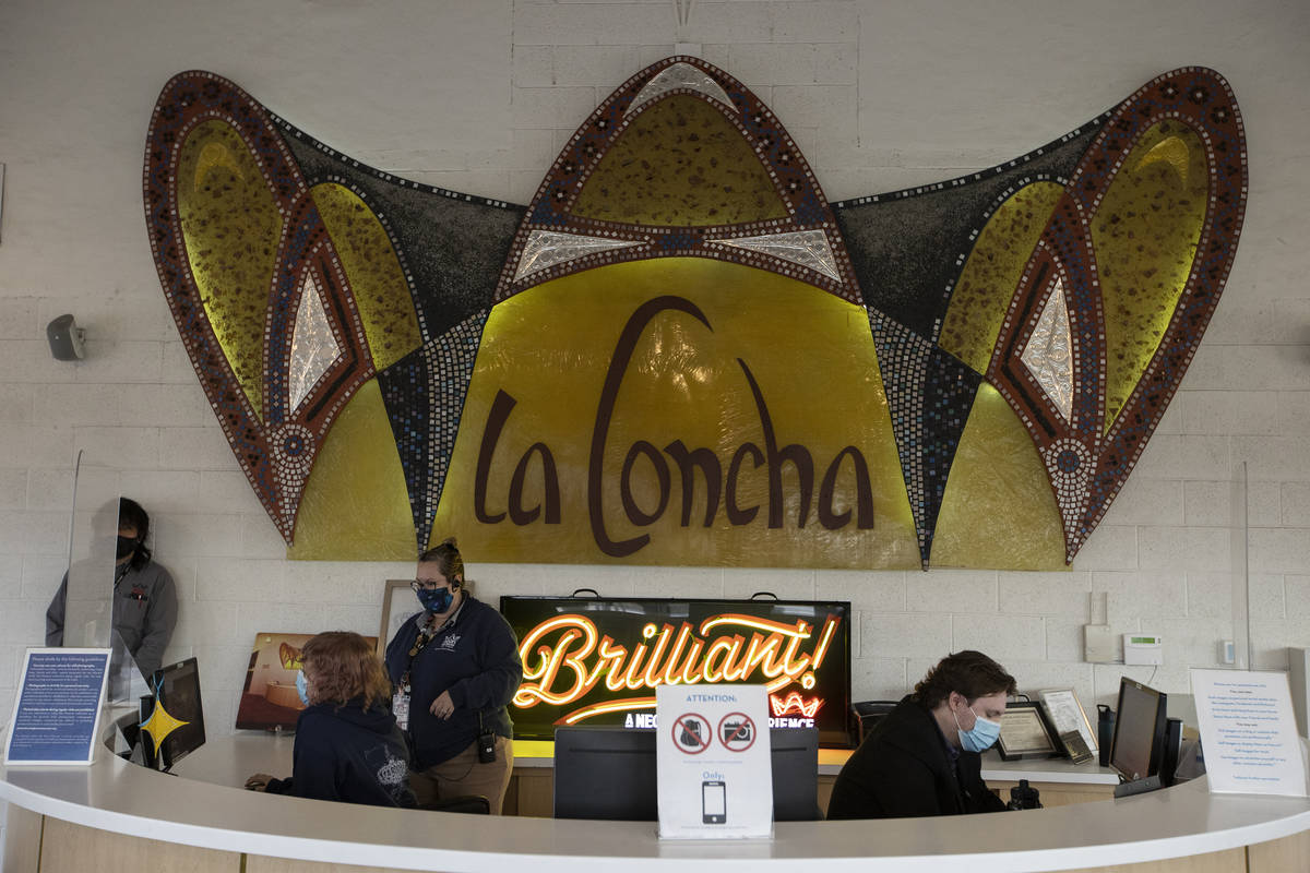 The interior of the The Neon Museum, formerly the La Concha hotel lobby, in Las Vegas, on Tuesd ...