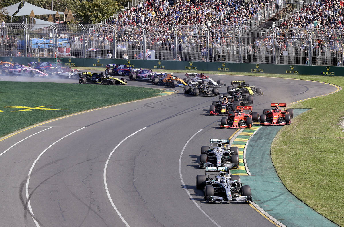 In this March 17, 2019, file photo, drivers compete in the Australian Formula 1 Grand Prix in M ...