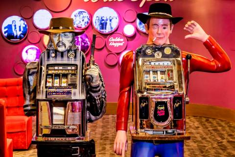 Two vintage slot machines made to resemble cowboys will go on display at The Mob Museum beginni ...