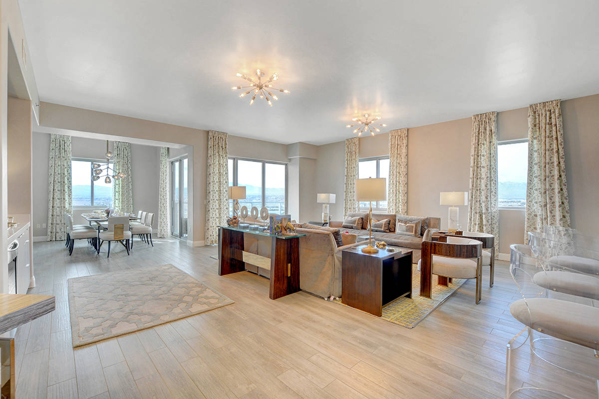 One Las Vegas offers a 20th-floor penthouse, Residence No. 2022, for $1,299,900. It measures 2, ...