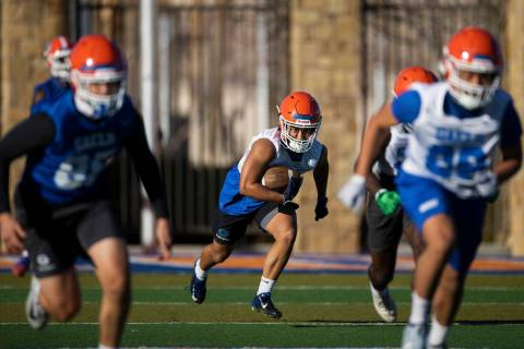 Bishop Gorman's Dominique Wilson (48) returns a kick during practice on Friday, Feb. 19, 2021, ...