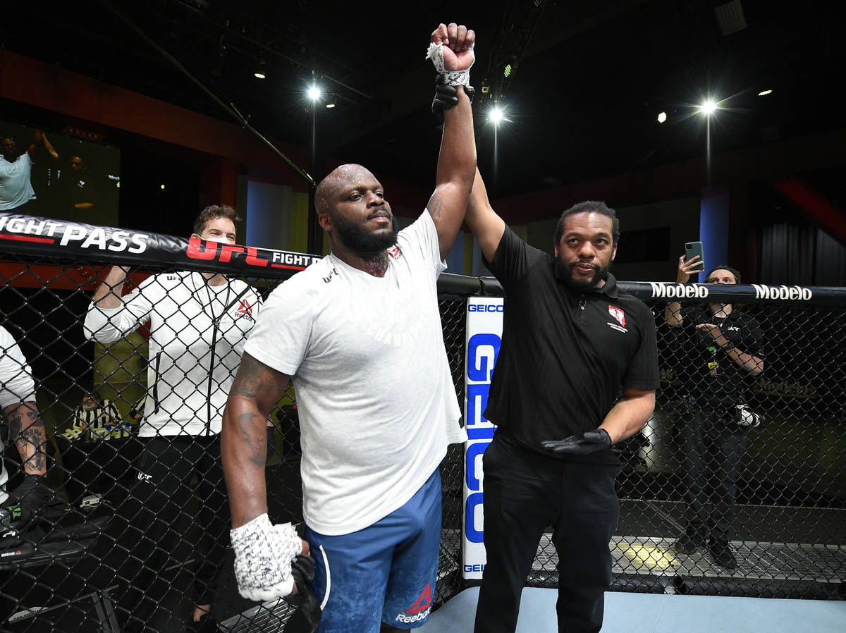 Derrick Lewis reacts after his knockout victory over Curtis Blaydes in a heavyweight bout durin ...