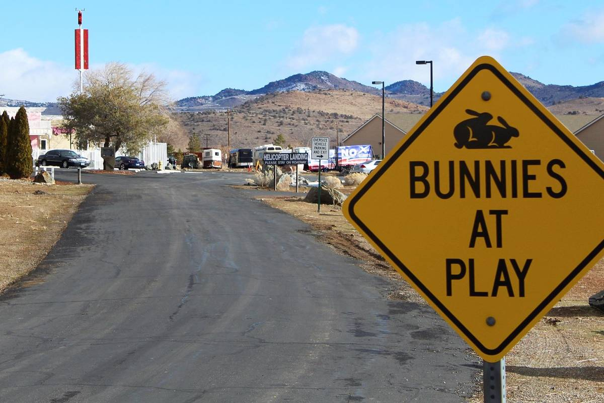 The Moonlite Bunny Ranch brothel is seen in Lyon County east of Carson City, in February 2019. ...