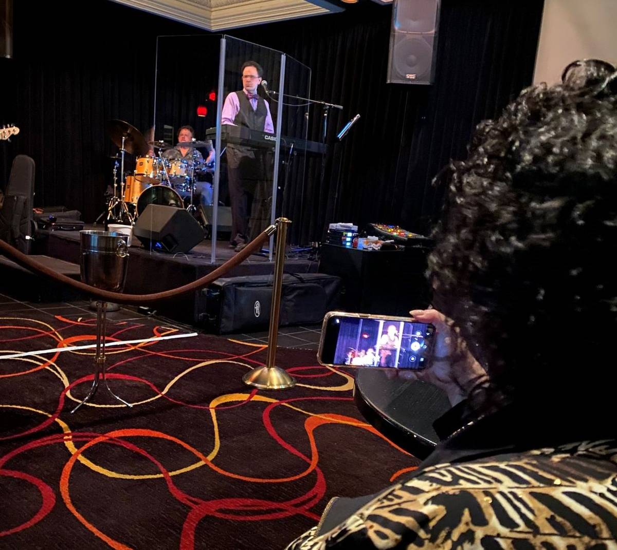 Kenny Davidsen is recorded by his mother, Rita Davidsen, at Tuscany Suites' Piazza lounge on Fr ...