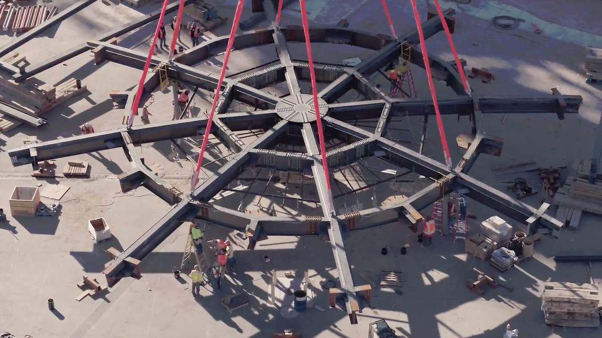 A 170-ton steel compression ring — the heaviest component for the construction of the MSG Sph ...