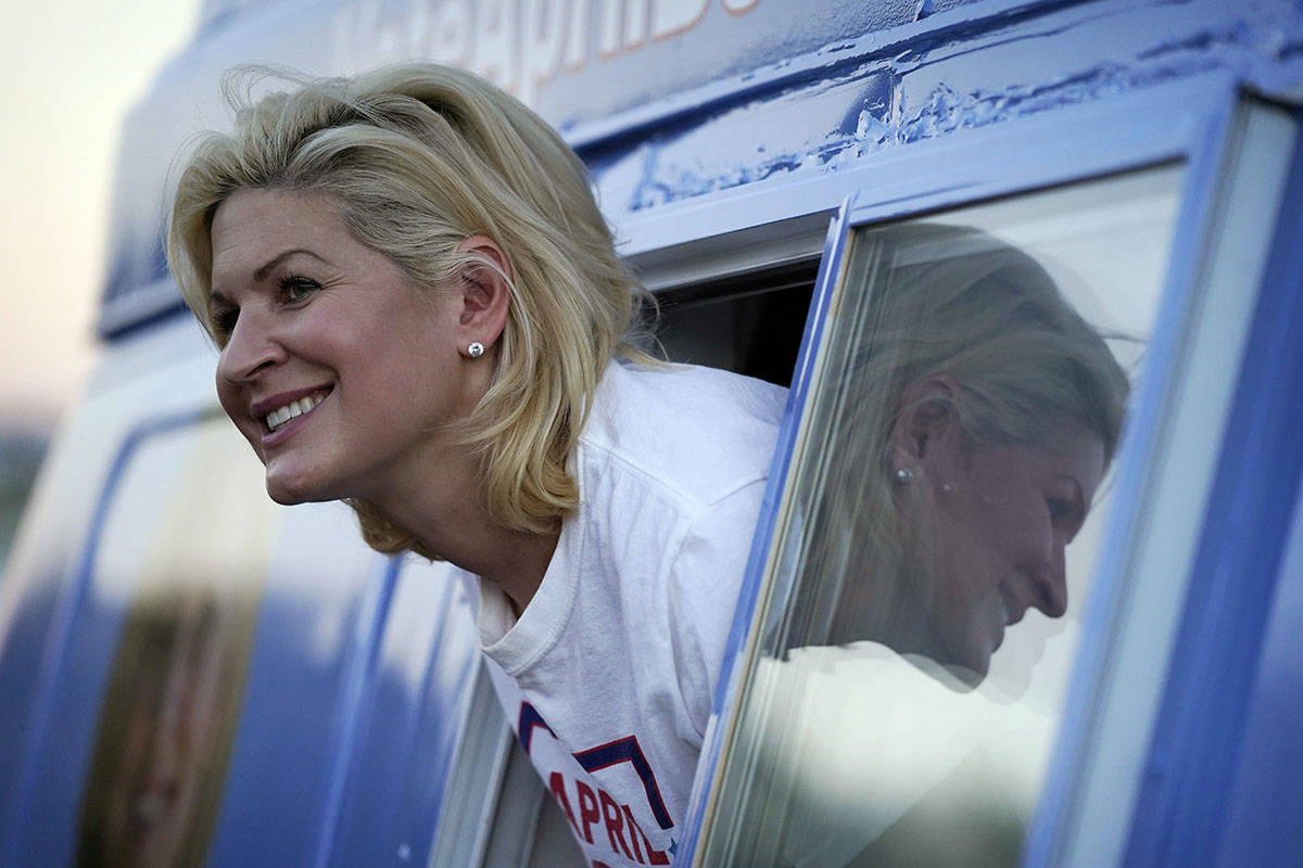 Republican April Becker campaigns for the Nevada state senate from a converted ice cream truck ...