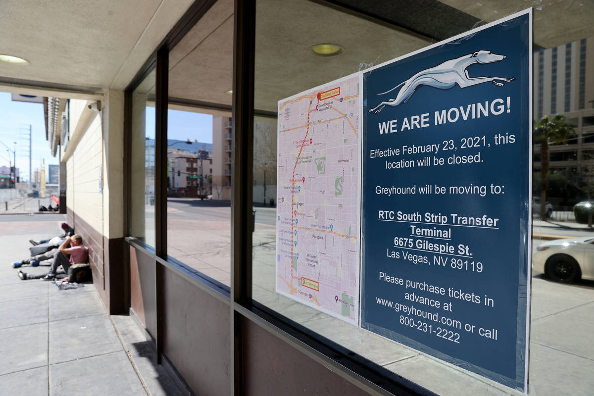 Greyhound bus terminal on Main Street in downtown Las Vegas on its final day of operation Tuesd ...