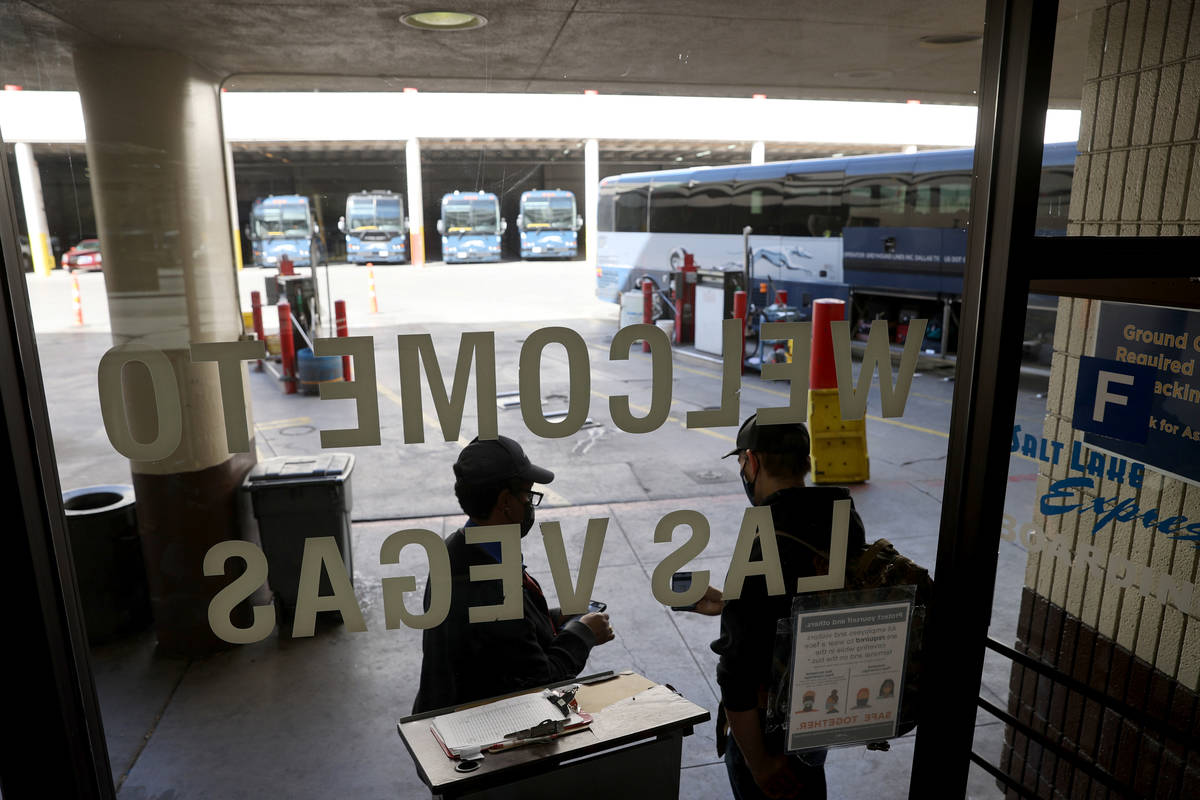 One of the final customers shows his ticket at the Greyhound bus terminal on Main Street in dow ...