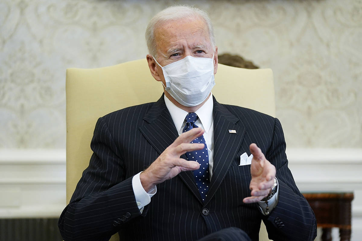 President Joe Biden meets with business leaders to discuss a coronavirus relief package in the ...