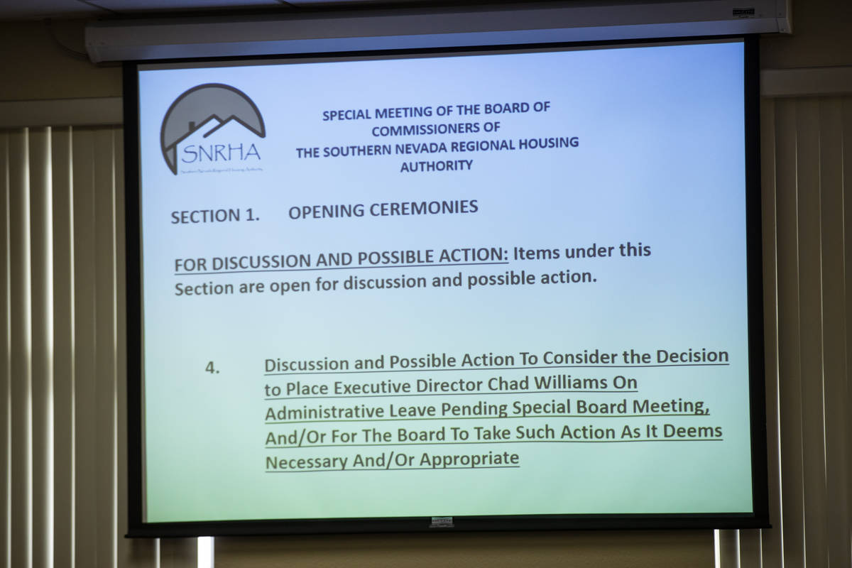 The agenda item relating to executive director Chad Williams is seen during a Southern Nevada R ...