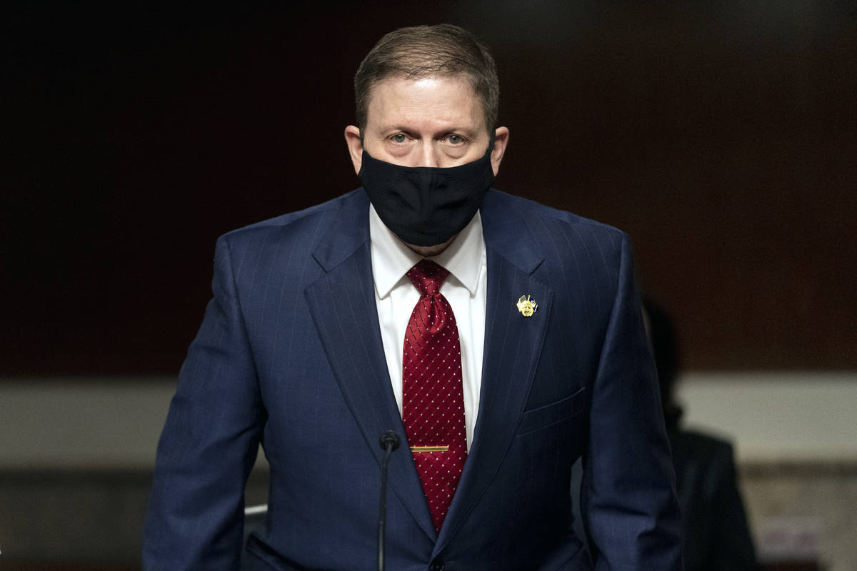 Former U.S. Capitol Police Chief Steven Sund arrives to testify before a Senate Homeland Securi ...