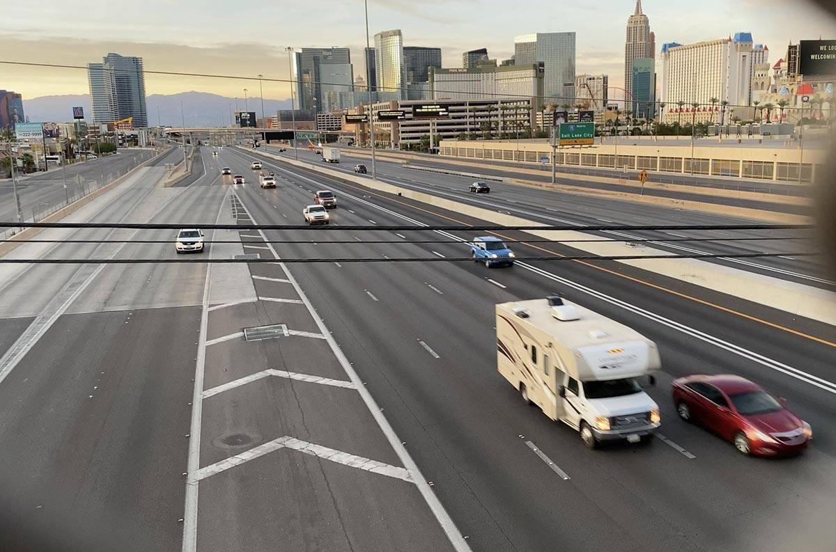 Light traffic seen on Interstate 15 in the Resort Corridor on May 14, 2020. (Mick Akers/Las Veg ...