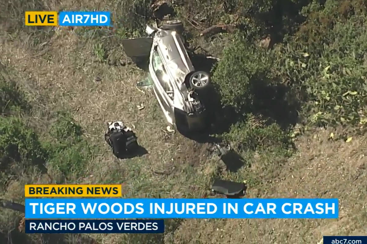 In this aerial image take from video provided by KABC-TV video, a vehicle rest on its side afte ...