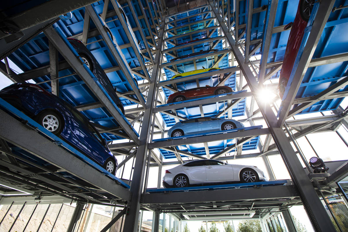 An interior view at Carvana, a fully-automated, coin-operated car vending machine, in Las Vegas ...
