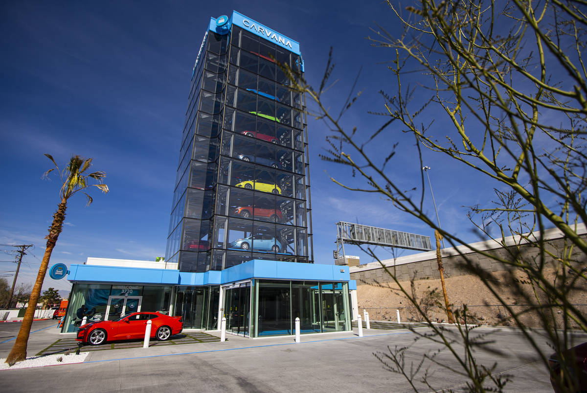 An exterior view at Carvana, a fully-automated, coin-operated car vending machine, in Las Vegas ...
