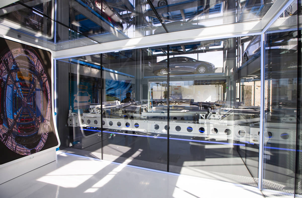 An interior view at Carvana, a fully-automated, coin-operated car vending machine, as the syste ...