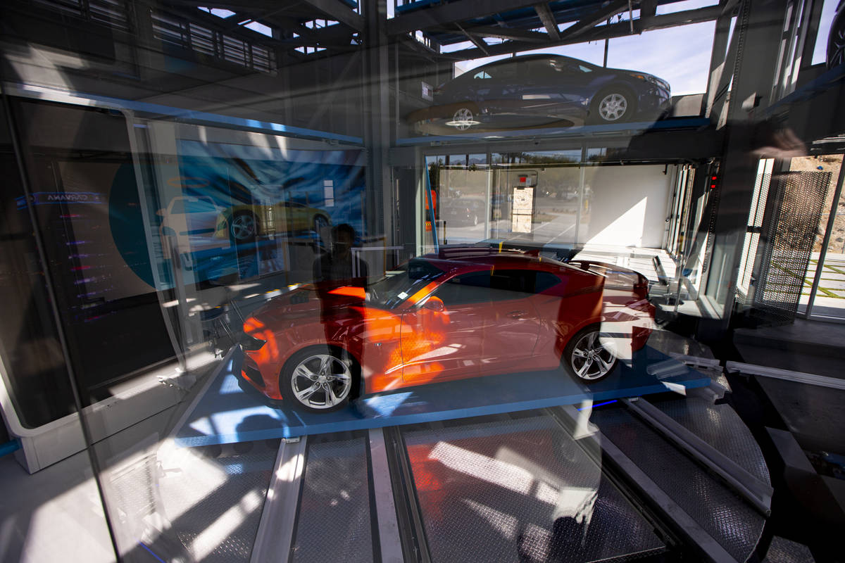 A 2019 Chevrolet Camaro SS is retrieved at Carvana, a fully-automated, coin-operated car vendin ...
