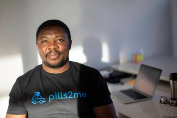 Leslie Asanga, CEO of Pills2Me, poses for a portrait at his office on Tuesday, Feb. 23, 2021, i ...