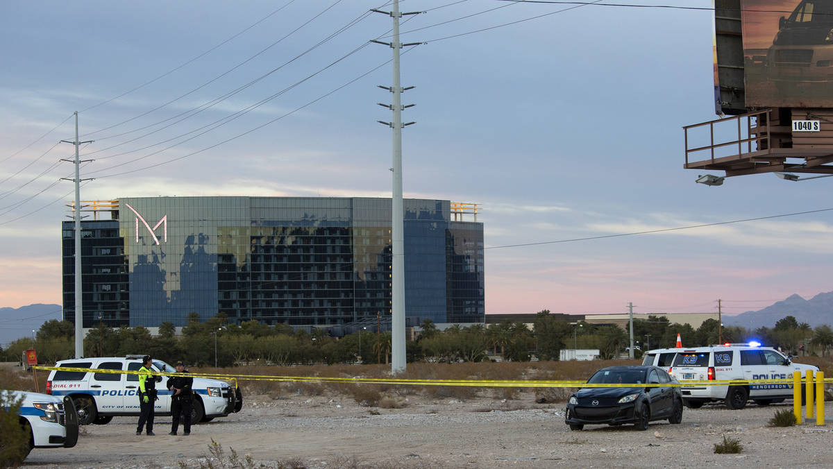 Henderson police investigate the scene of a fatal attempted car jacking on Tuesday, Feb. 23, 20 ...