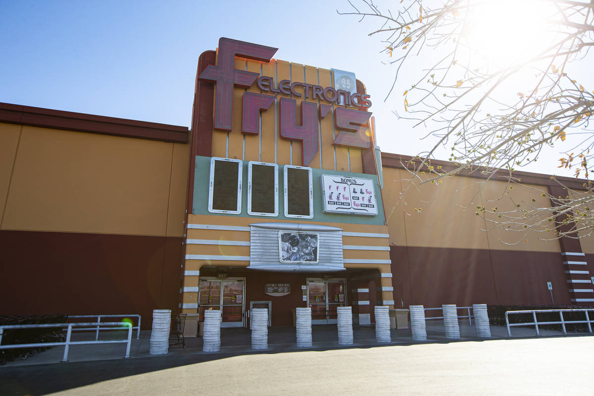 An exterior view of Fry's Electronics at Town Square in Las Vegas on Wednesday, Feb. 24, 2021. ...