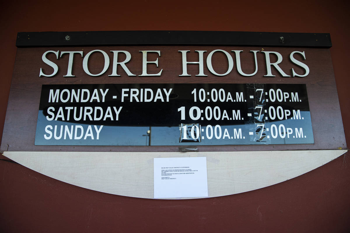 A notice about the closure of Fry's Electronics is seen at Town Square in Las Vegas on Wednesda ...
