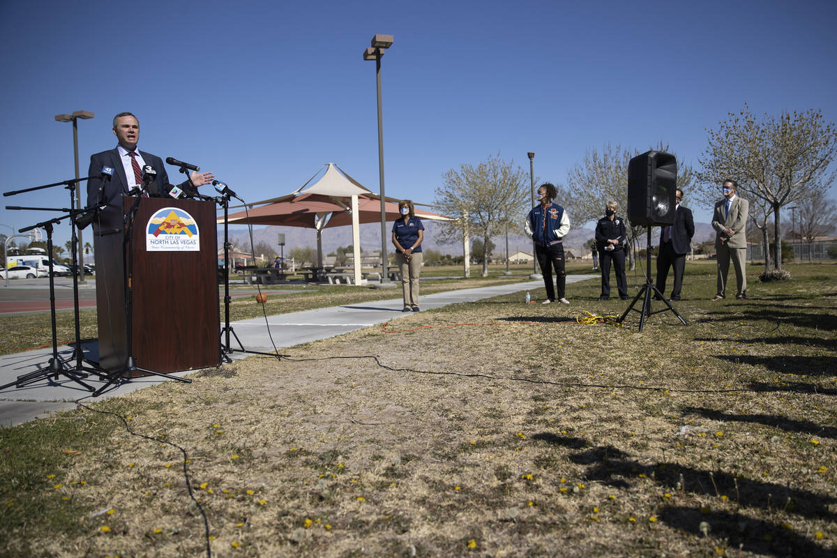North Las Vegas City Manager Ryann Juden speaks during a press conference calling for the resta ...