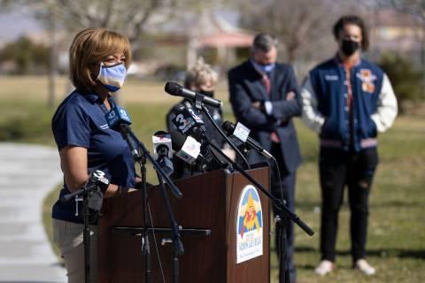 Councilwoman Pamela Goynes-Brown speaks during a press conference calling for the restart of sp ...
