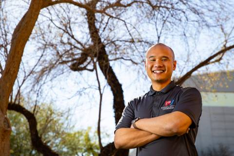 UNLV student and U.S. Air Force veteran Andrew Ho poses for a portrait on campus in Las Vegas o ...