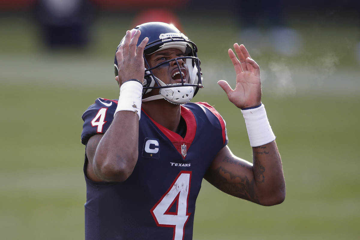 Houston Texans quarterback Deshaun Watson (4) reacts during the second half of an NFL football ...