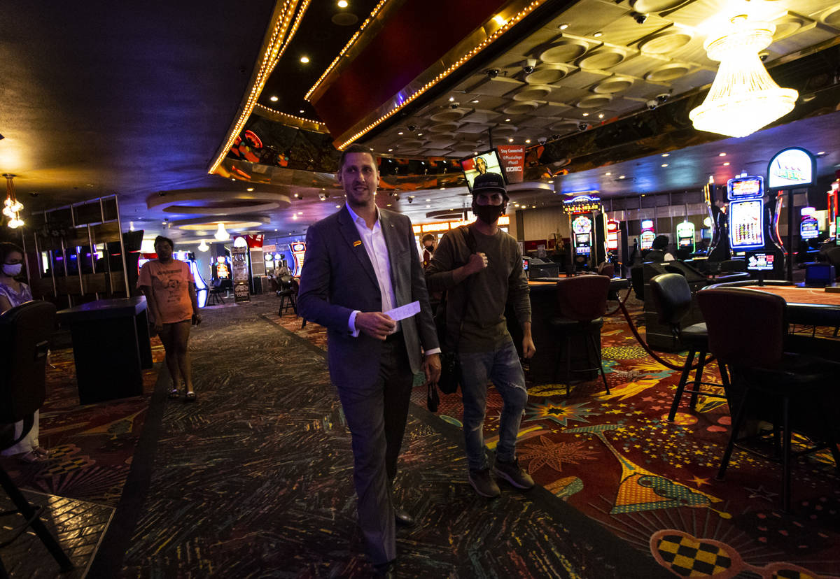 Jonathan Jossel, CEO of the Plaza, walks the casino floor as hotel-casino reopens in downtown L ...