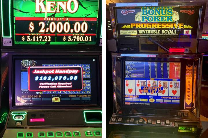 Keno and video poker jackpots connect Wednesday, Feb. 24, 2021, at Palace Station in Las Vegas. ...