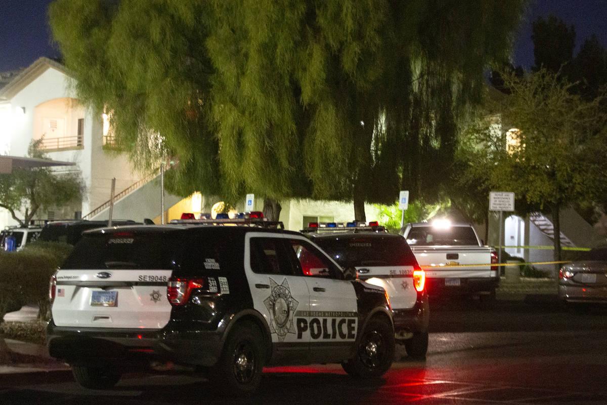 Metropolitan police investigate a homicide at 5650 E. Sahara Ave. on Wednesday, Feb. 24, 2021, ...