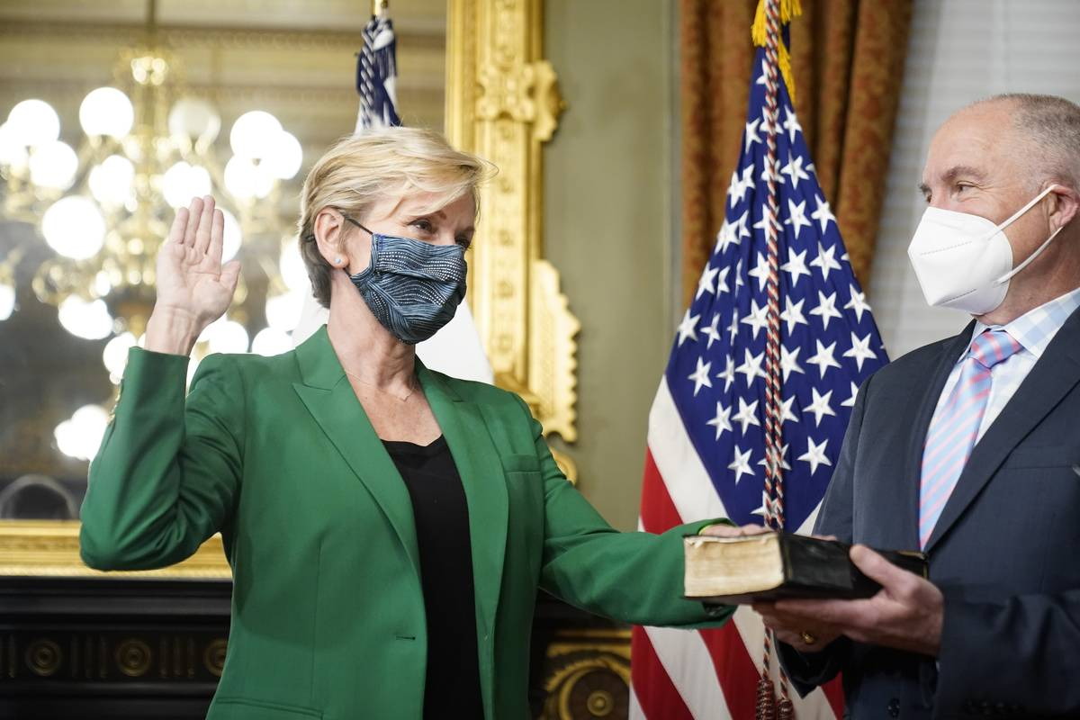 Former Michigan Governor Jennifer Granholm is sworn in as Energy Secretary by Vice President Ka ...