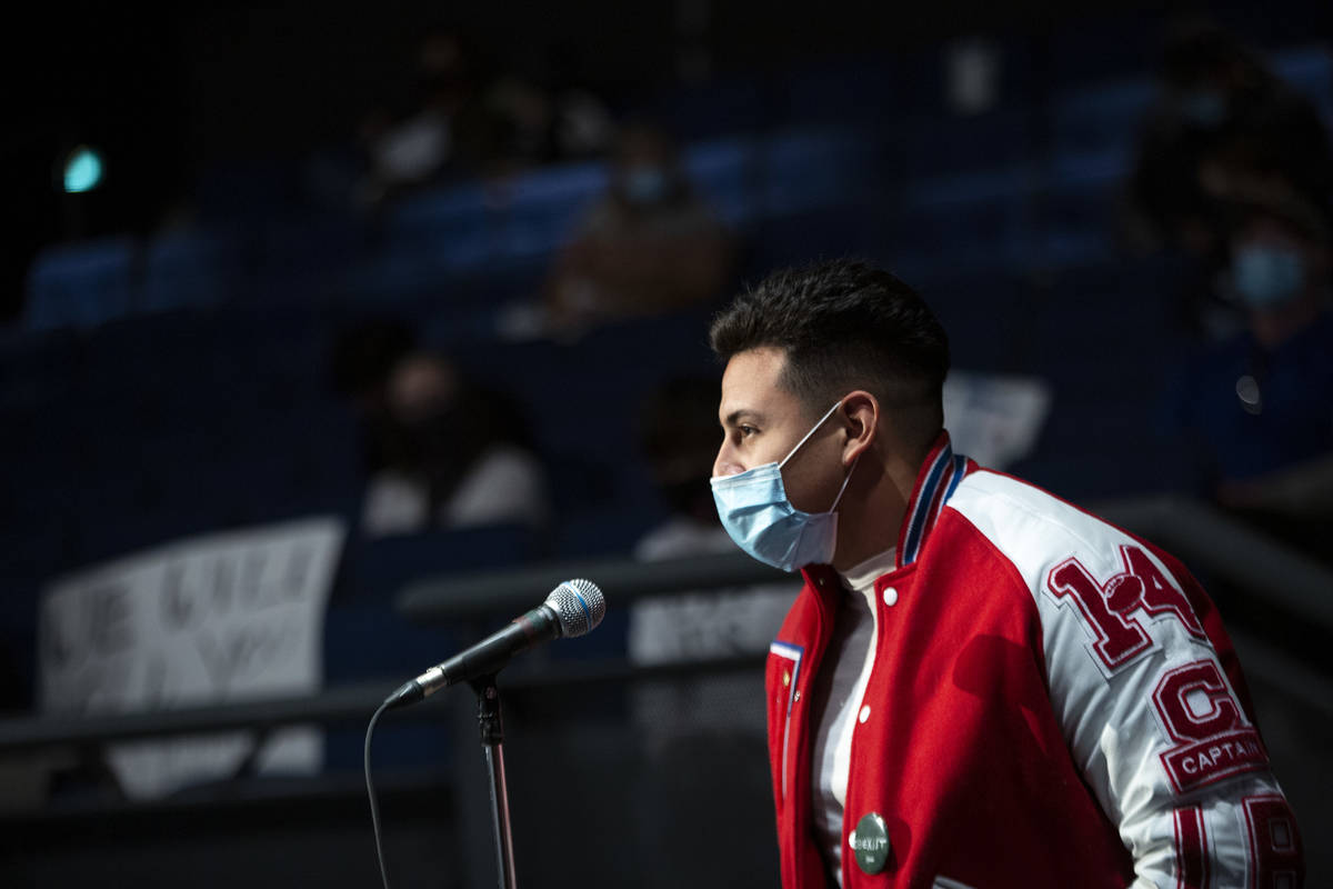 Axcel Ramirez-Fausto, a senior at Valley High School, advocates for schools to reopen, particul ...