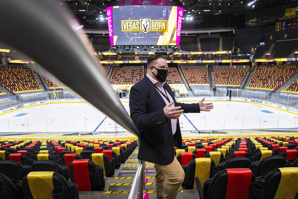 Chris Engler, executive director of arena operations, discusses new features at T-Mobile Arena ...