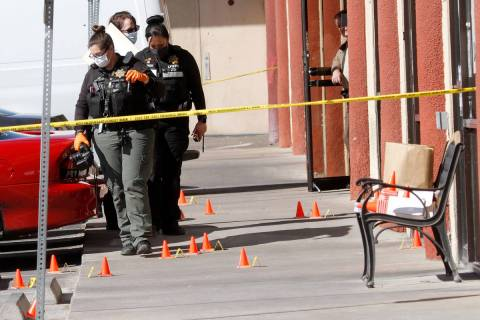Las Vegas police investigate a homicide, Feb. 20, 2021, near the 6000 block of West Flamingo Ro ...
