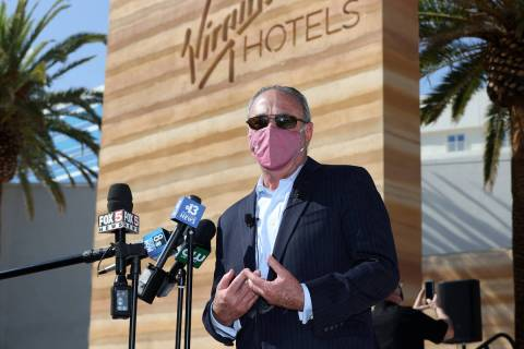 """Richard """"Boz"""" Bosworth speaks during a press conference to announce the reopening of the Vi ..."""