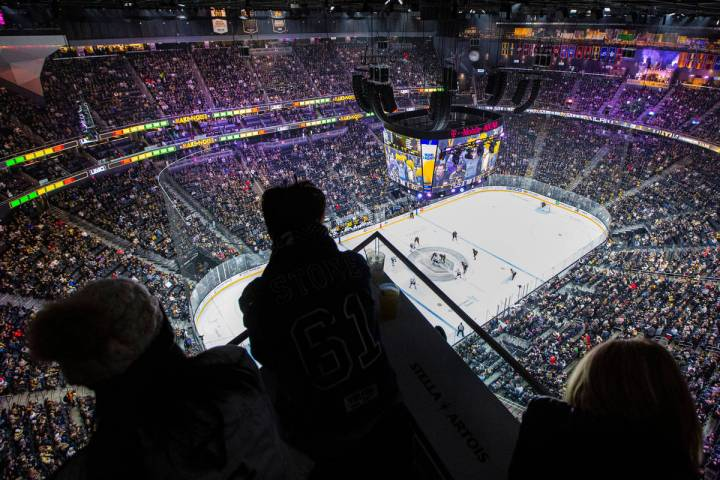 Fans watch a Golden Knights game at T-Mobile Arena in Las Vegas on Thursday, Jan. 9, 2020. (Cha ...