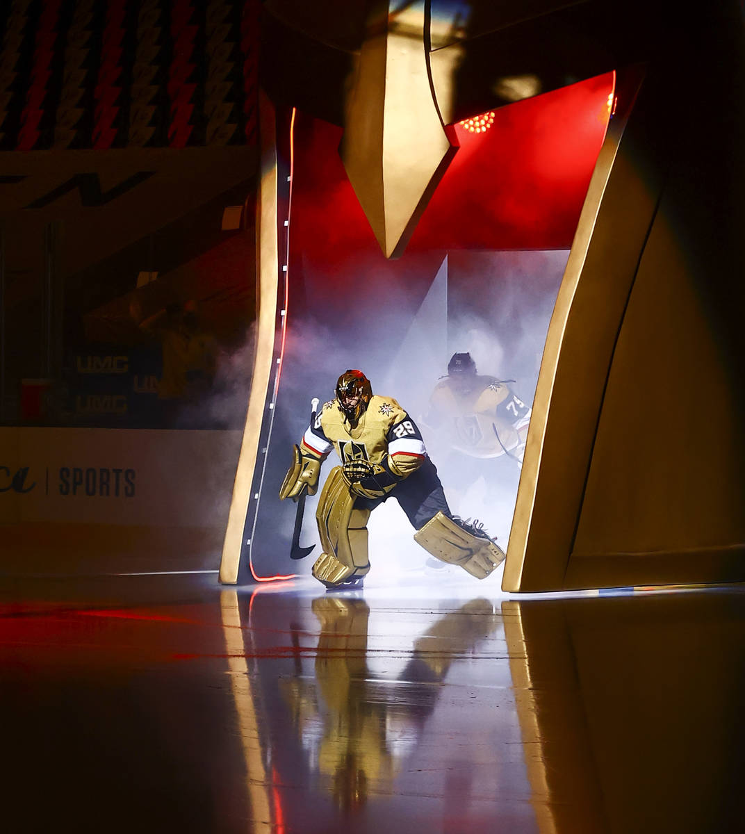 Golden Knights goaltender Marc-Andre Fleury (29) skates onto the ice before an NHL hockey game ...