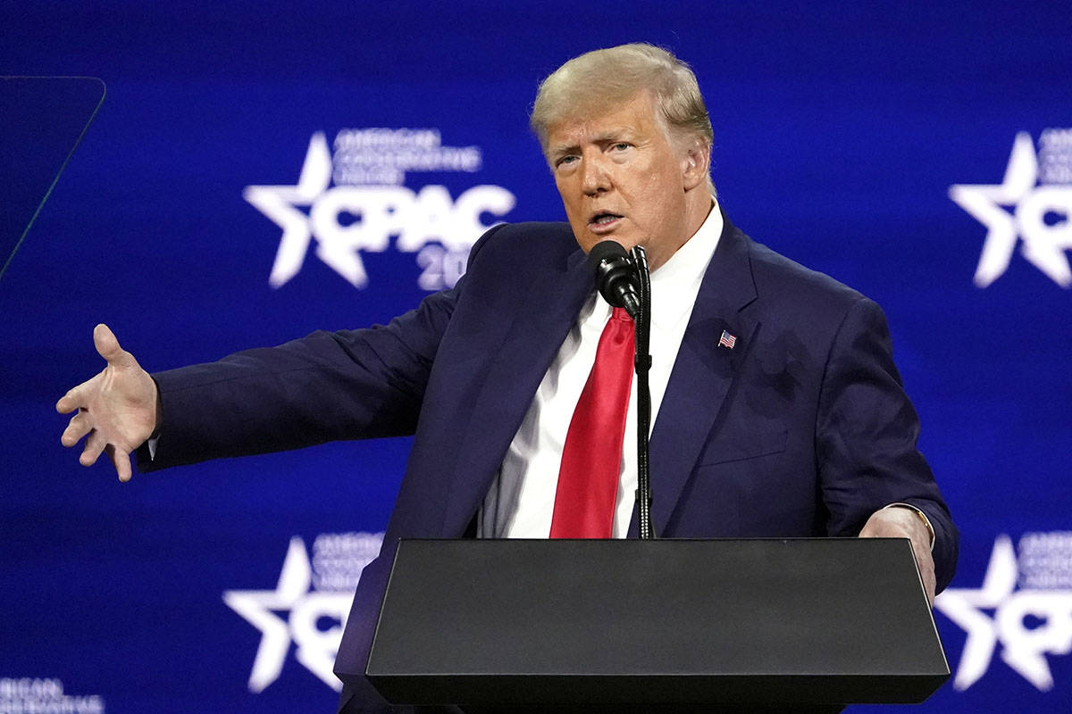 Former president Donald Trump speaks at the Conservative Political Action Conference (CPAC) Sun ...