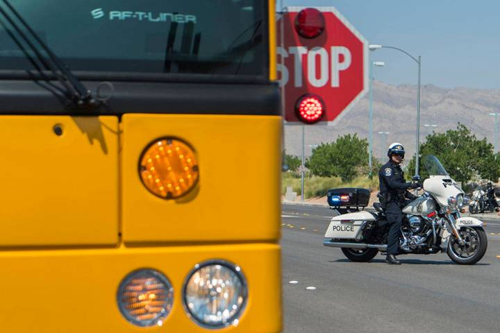 Clark County School District Police Department holds a mock traffic stop at Centennial High Sch ...