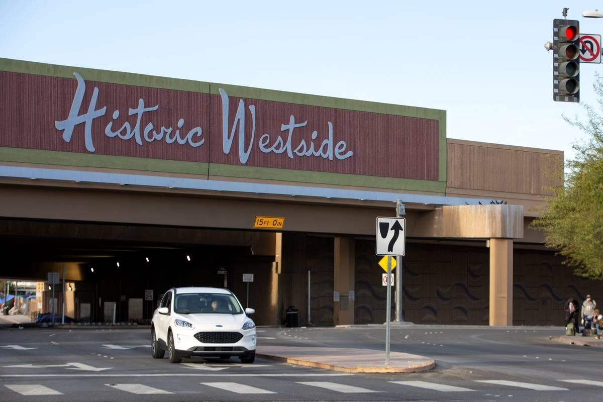 The Historic Westside sign above F Street near Bonanza Road on Wednesday, Feb. 3, 2021, in Las ...
