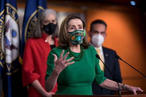 Speaker of the House Nancy Pelosi, D-Calif., meets with reporters before the House votes to pas ...