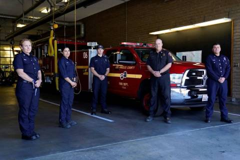 From left, fire Truck Captain Jeane Barrett, firefighter paramedic Sally Ortega, engine probati ...